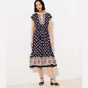 NWT LOFT | Border Floral Tasseled Drawstring Dress